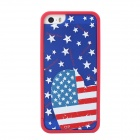 US National Flag Love Heart Style Protective Back Case for IPHONE 5 / 5S - Blue + Red