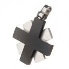 A200261 Couple's Anti-allergic Cross 316L Stainless Steel Necklace Pendants - Silver + Black (2 PCS)