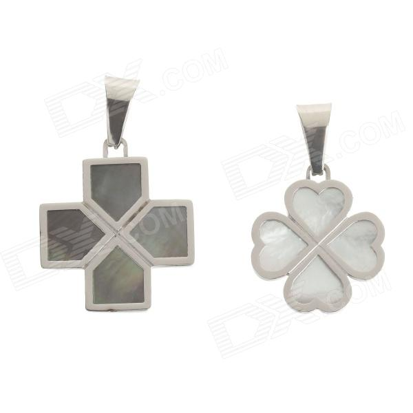 A200259 Couple's Anti-allergic Cross 316L Stainless Steel Necklace Pendants - Silver (2 PCS) ysdx 398 fashion stainless steel self stirring mug black silver 2 x aaa