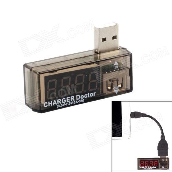 "3.3"" LED 4-Digit Red Display 3.5~7V 0~3A USB Power Charger Current Voltage Tester - Blue + Silver"