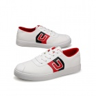 SNJ 98-518 Men's Fashionable Casual Canvas Shoes - White + Red + Black (Pair / EUR Size 43)