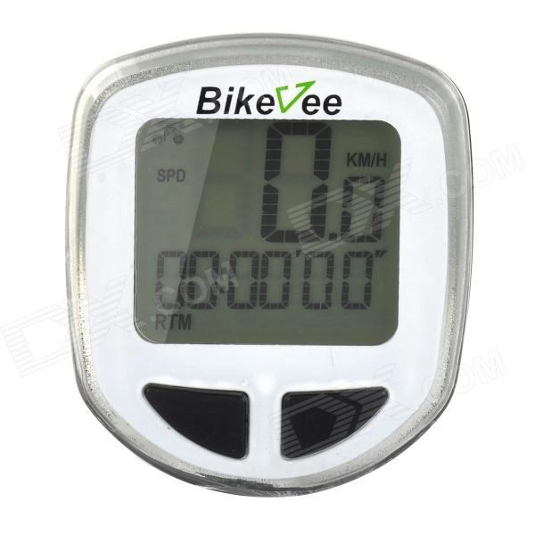 Bikevee B10017 1.5 LCD Wireless Electronic Bicycle Computer Speedometer - White (1 x CR2032)