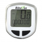 "Bikevee B10017 1.5"" LCD Wireless Electronic Bicycle Computer Speedometer - White (1 x CR2032)"