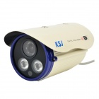 "KSJ J-322YF IP66 Waterproof 1/3"" CCD Night Vision Video Camera Monitor w/ LED Light - White"