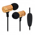 JBM MJ007 3.5mm In-Ear Headset w/ Microphone for IPHONE / Samsung / HTC - Black + Golden (118cm)
