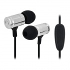JBM MJ007 3.5mm In-Ear Earphone w/ Microphone for IPHONE / Samsung / HTC - Black + Silver (118cm)