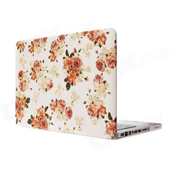 "RFH Flowers Pattern Protective Full Body Matte Case for MacBook Pro 13.3"" - Orange + White"