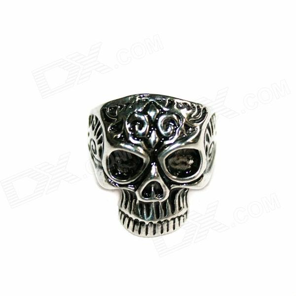 Skull Style Stainless Steel Finger Ring - Silver Black (U.S Size 9) cool punk skull style stainless steel ring silver u s size 9