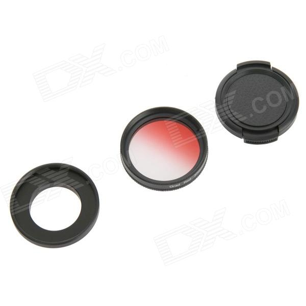 DUALANE C00855 37mm Graddually Filter + Lens Hood + Lens Cap Kit for Gopro Hero 3/3+ - Red
