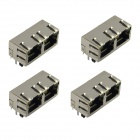 2-Port RJ45 Network Connectors w/ LED Indicator - Silver (4 PCS)