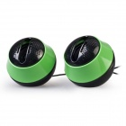 Portable 2.0 Channel USB Powered 3.5mm Wired Desktop Speakers Set for PC / Laptop - Green + Black