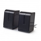 Portable 2.0 Channel USB Powered 3.5mm Wired Stereo Desktop Speaker Set for PC / Laptop - Black