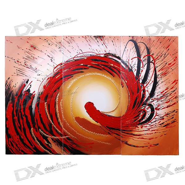 3-in-1 Modern Abstract Art Oil Painting with Wooden Frame