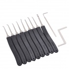 Manganese Steel Unlocking 9-Lock Pick + 2-Tool Set - Black + Silver