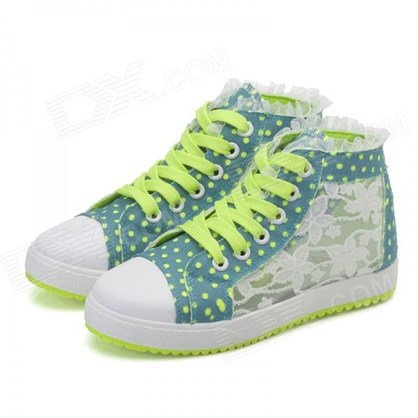 Women's Casual Breathable Lace-up Floral Pattern Canvas Shoes - Green + Yellow + White (EUR Size 39)