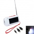 3-in-1 6-LED Solar Powered Charger / Flashlight / FM Radio - White + Red