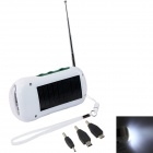 3-in-1 6-LED Solar Powered Charger / Flashlight / FM Radio - White + Green