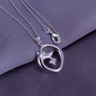 Women's Rhinestone Studded Dolphin Shaped Silver-plated Brass Pendant Necklace - Silver (20cm)