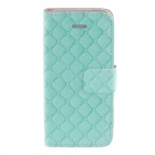 Kinston KST02144 Blue Grid PU Leather PU Leather Full Body Case Cover Stand for IPHONE 5 / 5S - Cyan