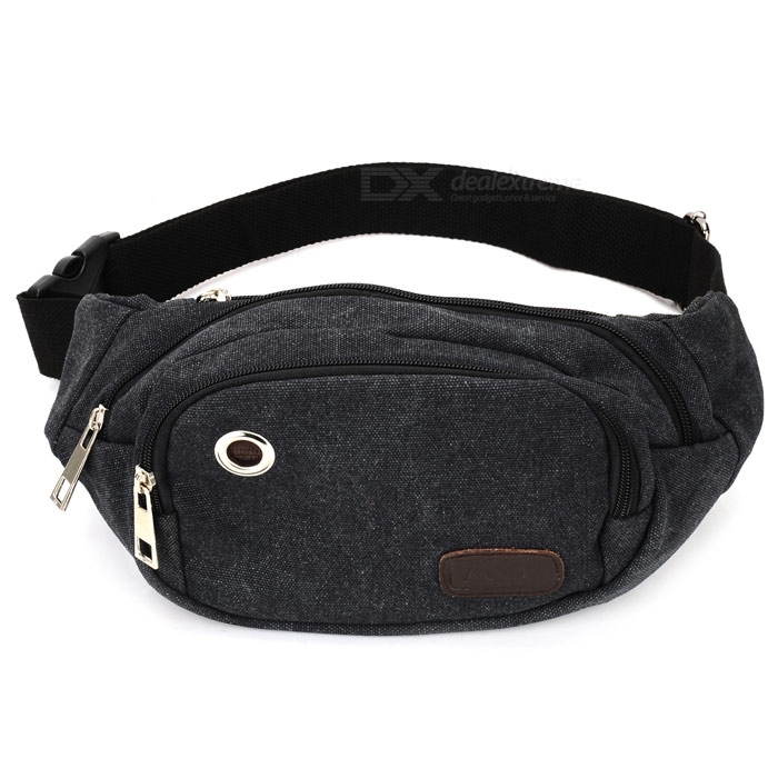 Canvas Waist Bag with Earphone Hole - Black Grey