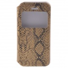 Protective PU Leather Flip-Open Case w/ Display Window / Plastic Back Case for IPHONE 5 / 5S - Gold