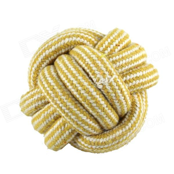 Braided Cotton Rope Ball for Cat / Dog - White + Yellow