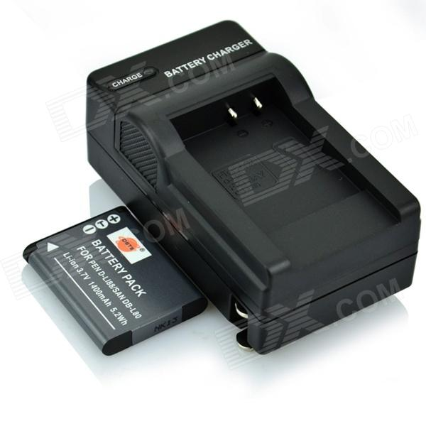 DSTE D-LI88 DB-L80 Battery + Charger for Pentax H90 P80 W90 WS80 / SANYO DMX-CG10 CG100 GH1 - Black