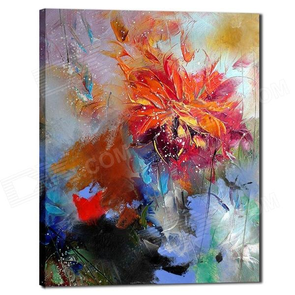 Iarts DX0613-08 Flower Abstract Lotus Hand Painted Oil Painting - Multicolored iarts hand painted blue vase oil painting 60 x 40cm