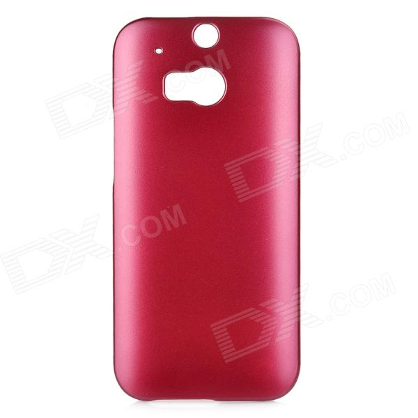 Fashionable Protective Plastic Back Case for HTC M8 - Red Brown