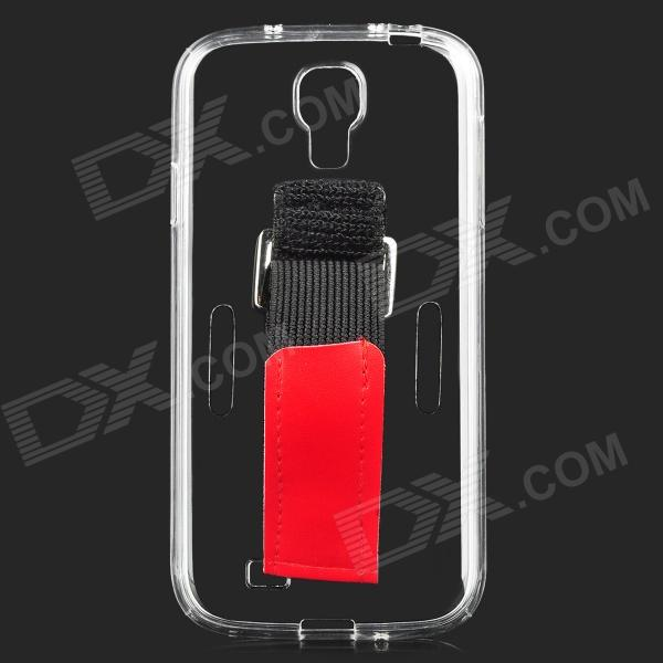 Protective Silicone Back Case w/ Armband for Samsung S4 - Transparent + Black + Red