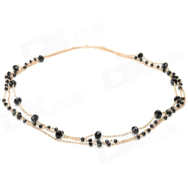 Women's Fashionable Zinc Alloy + Crystal Chain Necklace - Golden + Black