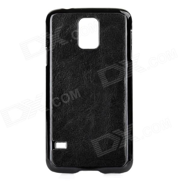 YI-YI Protective PU + PC Back Case for Samsung Galaxy S5 / G900 - Black replacement back camera circle lens for samsung galaxy s5 g900 black