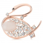 Women's Lovely Swan Style Opal + Rhinestone Decoration Brooch - Golden