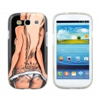 Hot Sexy Bikini Tattoo Girl Pattern Protective TPU Case for Samsung Galaxy S3 i9300 - Black + Beige