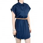 Women's Fashionable Collared Short-sleeved Dacron Dress w/ Belt - Deep Blue (XL)