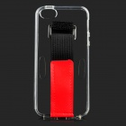 Protective Silicone Back Case w/ Armband for IPHONE 5 / 5S - Transparent + Black + Red