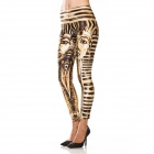Elonbo Egyptian Pharaoh Style Digital Painting Tight Leggings for Women - Golden