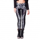 Elonbo White X-ray Skeleton Bone Style Digital Painting Tight Leggings for Women - White + Black