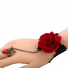 Equte Klassiker Black Lace w / Rose Charms-Armband und Ring Adjustabel Schmuck Set - Schwarz + Rot