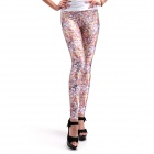 Elonbo Floral Style Digital Painting Tight Women Leggings - Deep Pink + Purple