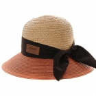 Bowknot Stil Straw Hat Weaving - Orange