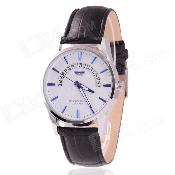 Men's Zinc Alloy Casing PU Band Analog Quartz Watch w/ Calendar Display - White + Black (1 x 377) stylish bracelet zinc alloy band women s quartz analog wrist watch black 1 x 377