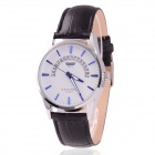 Men's Zinc Alloy Casing PU Band Analog Quartz Watch w/ Calendar Display - White + Black (1 x 377)