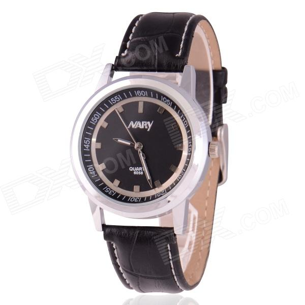 Men's Business Style Zinc Alloy Casing PU Band Analog Quartz Wristwatch - Black (1 x SR626)