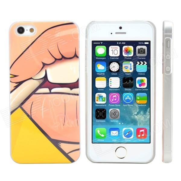 Stylish Smoking 3D Protective Plastic Hard Back Case for IPHONE 5 / 5S - Yellow + Light Brown ipega i5056 waterproof protective case for iphone 5 5s 5c pink