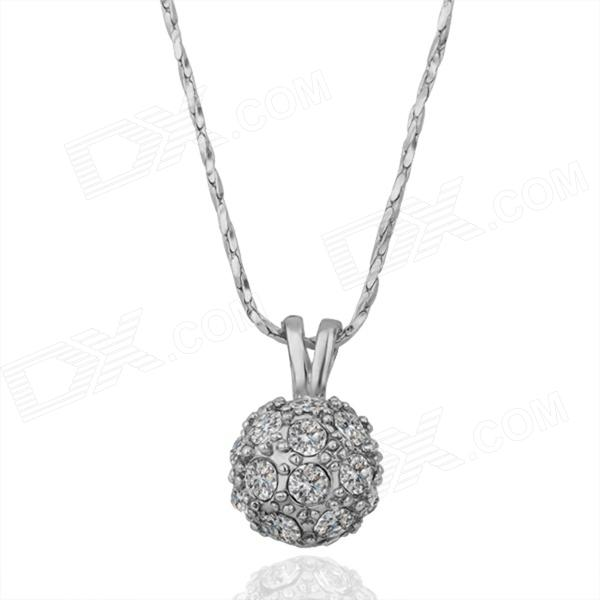 Round Shaped Rhinestone Inlaid Tin Alloy Pendant Necklace for Women - Silver rhinestone round pendant necklace for women