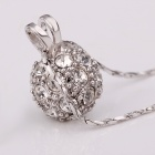 Round Shaped Rhinestone Inlaid Tin Alloy Pendant Necklace for Women - Silver