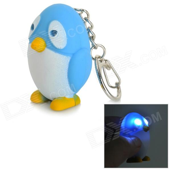 Penguin Style 2-LED White Light Sounding Keychain Toy for Kids - White + Blue + Yellow (3 x AG10) portable 2 mode 2 led cool white light headlamp white blue multi color
