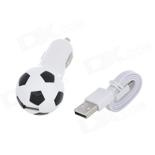CHH-05 Football Style USB 2.0 Car Cigarette Lighter Adapter Charger  - White + Black (12~24V)