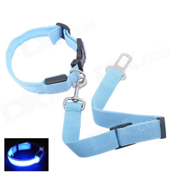 Pet Dog Safety LED Light Collar w/ Pet Car Safety Seat Belt - Light Blue (2 x CR2032)